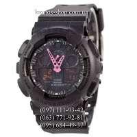 Casio G-Shock GA-100 All Black/Pink Arrows AAA