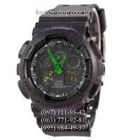 Casio G-Shock GA-100 All Black/Green Arrows AAA