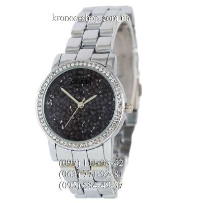 Guess Pave Dial Silver/Black