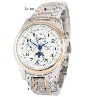 Longines Master Collection Moonphases Steel Silver-Gold/White