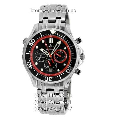 Omega Seamaster 300 M Diver Chronograph Silver/Black-Red