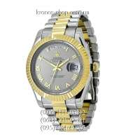 Rolex Day-Date Steel Rome Silver-Gold/Gold/Gray