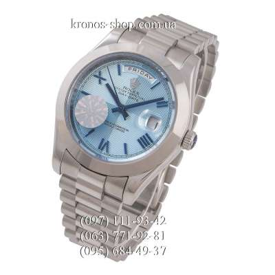 Rolex Day-Date Steel Rome Silver/Blue