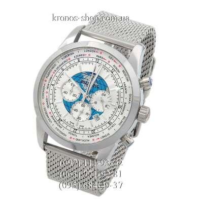 Breitling Transocean Chronograph Unitime Silver/White