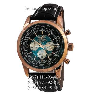 Breitling Transocean Chronograph Unitime Leather Black/Gold/Black