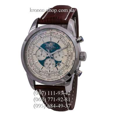 Breitling Transocean Chronograph Unitime Leather Brown/Silver/White