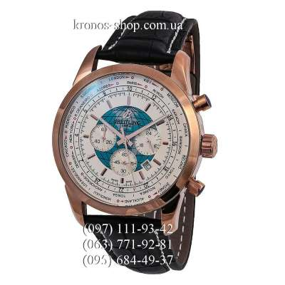Breitling Transocean Chronograph Unitime Leather Black/Gold/White