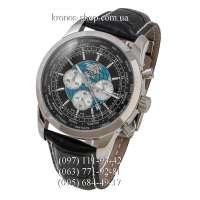 Breitling Transocean Chronograph Unitime Leather Black/Silver/Black