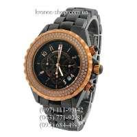 Chanel J12 Ceramic Chronograph Swarowski Black/Gold/Black