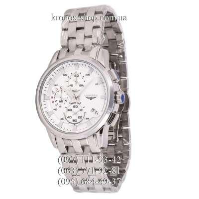 Longines Chronograph Steel Silver/White