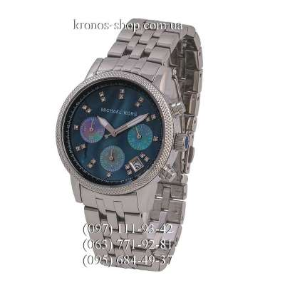 Michael Kors Ritz Chronograph Silver/Coral Blue