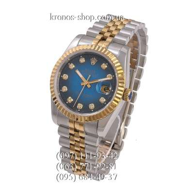 Rolex Datejust Steel Brilliants Fluted Bezel Silver-Gold/Gold/Blue