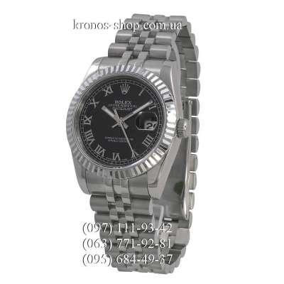 Rolex Datejust Steel Rome Fluted Bezel Silver/Black