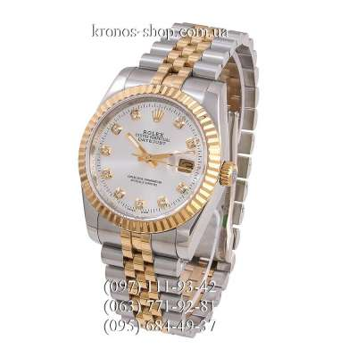Rolex Datejust Steel Brilliants Fluted Bezel Silver-Gold/Gold/White