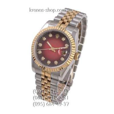 Rolex Datejust Steel Brilliants Fluted Bezel Silver-Gold/Gold/Red