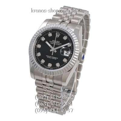 Rolex Datejust Steel Diamonds Fluted Bezel Silver/Black