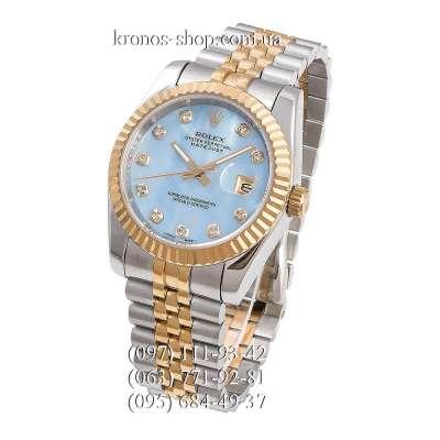 Rolex Datejust Steel Brilliants Fluted Bezel Silver-Gold/Gold/Sky Blue