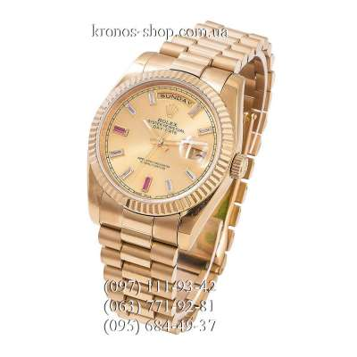 Rolex Day-Date Steel Fluted Bezel All Gold-Red