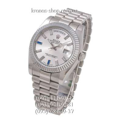 Rolex Day-Date Steel Fluted Bezel All Silver-Blue
