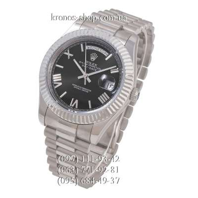 Rolex Day-Date Steel Rome Fluted Bezel Silver/Black