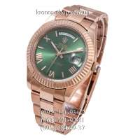Rolex Day-Date Steel Rome Fluted Bezel Rose Gold/Green