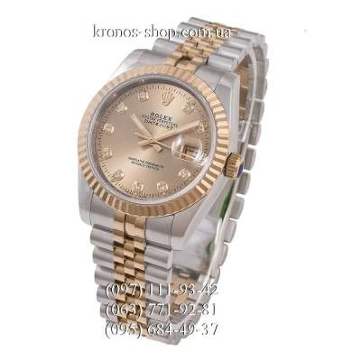 Rolex Datejust Steel Brilliants Fluted Bezel Silver-Gold/Gold/Gold