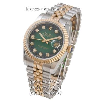 Rolex Datejust Steel Brilliants Fluted Bezel Silver-Gold/Gold/Green