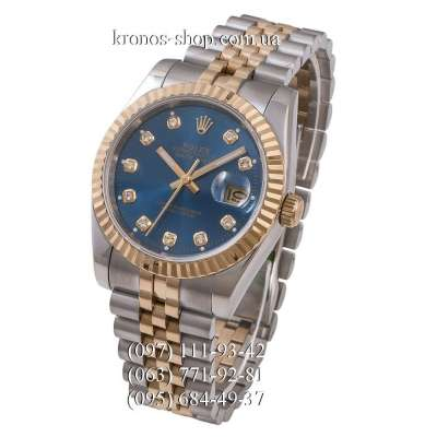 Rolex Datejust Steel Brilliants Fluted Bezel Silver-Gold/Gold/All Blue