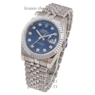 Rolex Datejust Steel Brilliants Fluted Bezel Silver/Blue