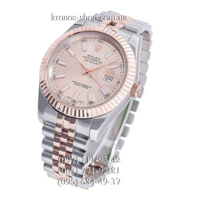 Rolex Datejust Steel Fluted Bezel Silver-Rose Gold