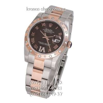 Rolex Datejust Steel Special Rose Gold-Silver/Chocolate