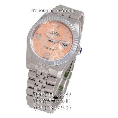Rolex Datejust Steel Flolar Fluted Bezel Silver/Orange