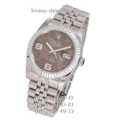 Rolex Datejust Steel Flolar Fluted Bezel Silver/Brown-Black