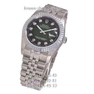 Rolex Datejust Steel Brilliants Fluted Bezel Silver/Green