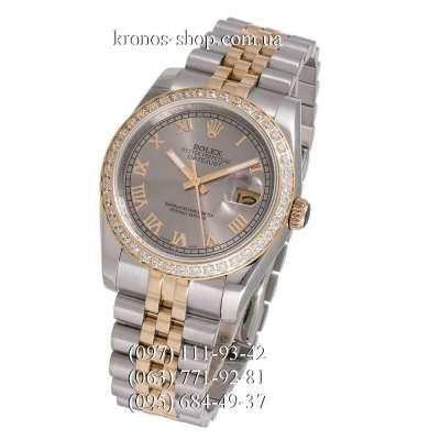 Rolex Datejust Steel Diamonds Rome Silver-Gold/Gray