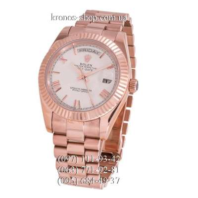 Rolex Day-Date Steel Rome Fluted Bezel Rose Gold/White