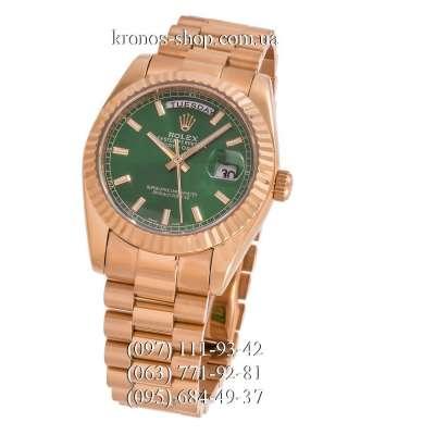 Rolex Day-Date Steel Fluted Bezel Gold/Green