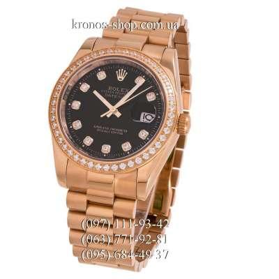 Rolex Datejust Steel Diamonds Gold/Black
