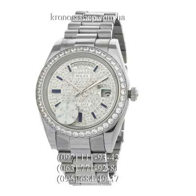 Rolex Day-Date Steel Full Pave Silver