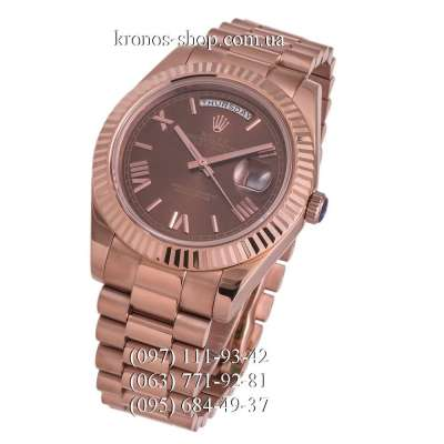 Rolex Day-Date Steel Rome Fluted Bezel All Rose Gold