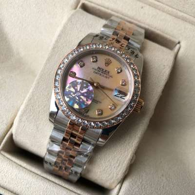 Rolex Datejust Diamond Pearl 31mm Silver-Rose Gold/Orange