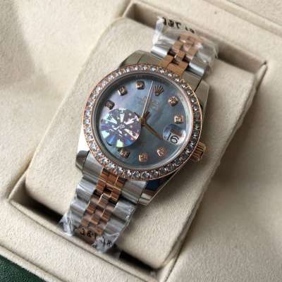 Rolex Datejust Diamond Pearl 31mm Silver-Rose Gold/Blue