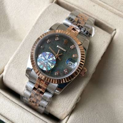 Rolex Datejust Pearl 31mm Silver-Rose Gold/Green