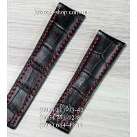 Ремешок для часов Tag Heuer Leather Black-Red (22х18 мм)