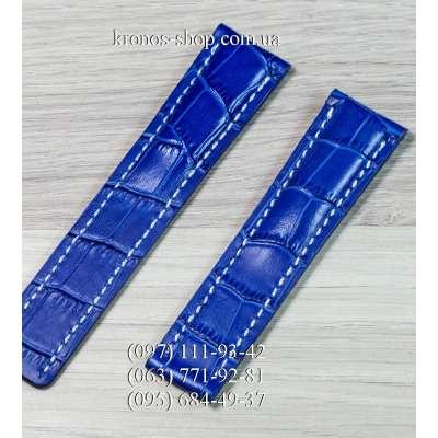 Ремешок для часов Breitling Leather Blue-White (22х20 мм)