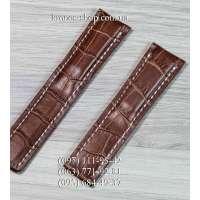 Ремешок для часов Breitling Leather Brown-White (22х20 мм)
