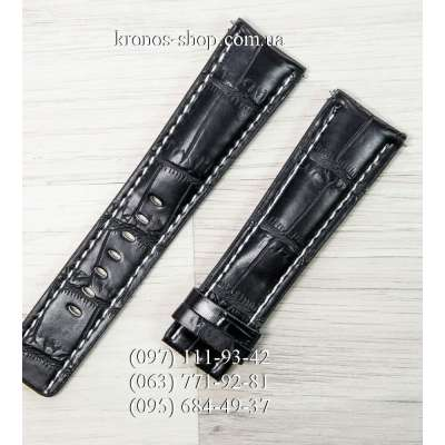 Ремешок для часов Breitling Leather Classic Black-White (24х20 мм)