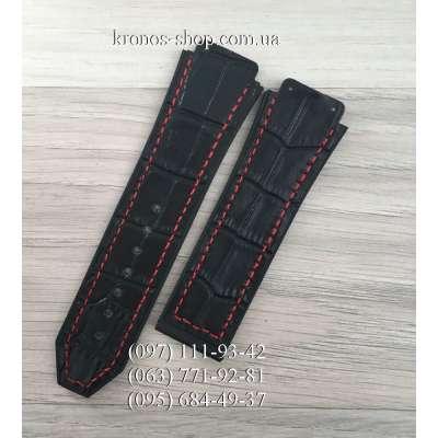 Ремешок для часов Hublot Leather Pattern Black-Red (25х22 мм)