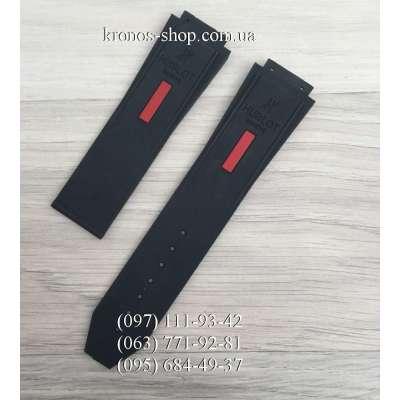 Ремешок для часов Hublot Smooth Long Black-Red (25х22 мм)