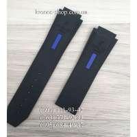 Ремешок для часов Hublot Smooth Long Black-Blue (25х22 мм)